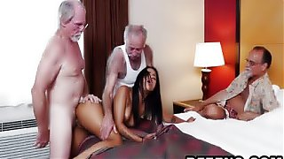 Sexy young Latina babe is fucked by mature grandpa while watched by some mature old men