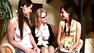 Mature school teacher takes on two 18 year old lesbians, they all take turns fooling around with each other..