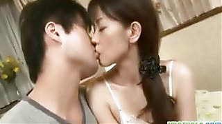 Mature Asian mommy is getting pounded in her mouth and pussy from behind..