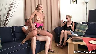 Mother-in-law rides my cock and wife watches