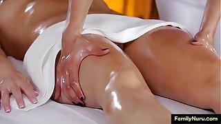Lesbian stepmom daughter massage