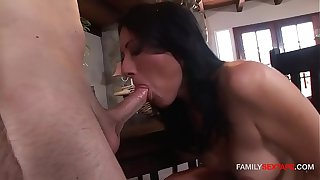 Step-Mom gets to ride her youngest son's cock!