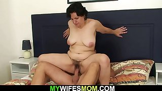 His hairy girlfriends mother sucks and rides cock