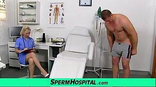 Stocking legs cougar doctor Maya stroking penis till cum on tits