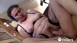 Chunky Old Granny Puts On Some Fishnet Stockings & Gets Fucked