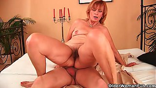 Plump grandma fucks her toy boy's cock with her unshaven pussy